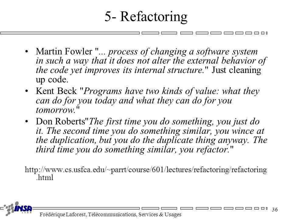 Frédérique Laforest, Télécommunications, Services & Usages 36 5- Refactoring Martin Fowler