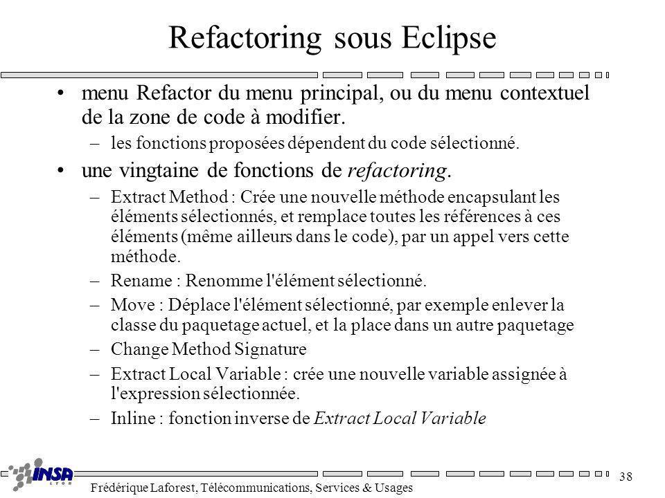 Frédérique Laforest, Télécommunications, Services & Usages 38 Refactoring sous Eclipse menu Refactor du menu principal, ou du menu contextuel de la zo