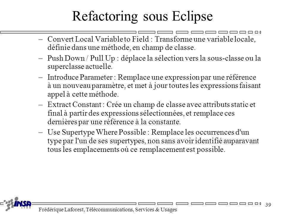 Frédérique Laforest, Télécommunications, Services & Usages 39 Refactoring sous Eclipse –Convert Local Variable to Field : Transforme une variable loca