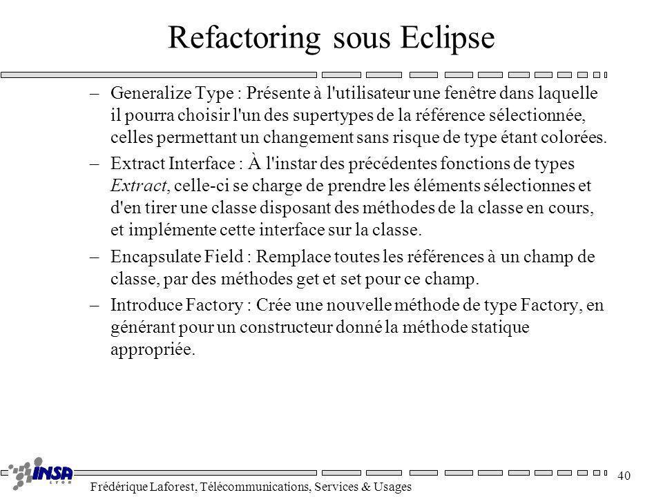 Frédérique Laforest, Télécommunications, Services & Usages 40 Refactoring sous Eclipse –Generalize Type : Présente à l'utilisateur une fenêtre dans la