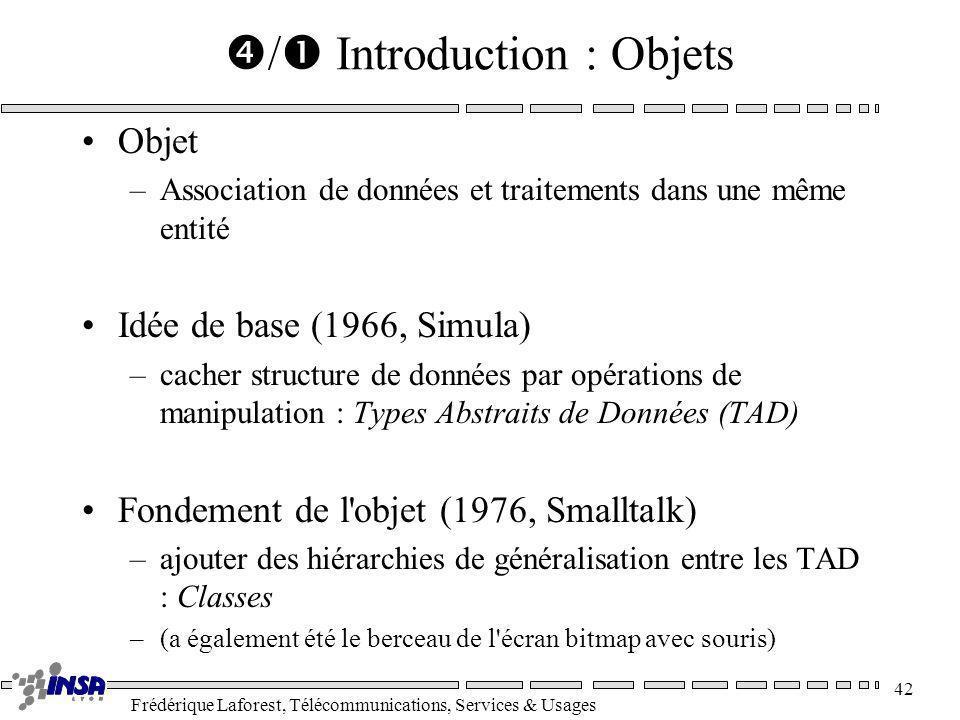 Frédérique Laforest, Télécommunications, Services & Usages 42 / Introduction : Objets Objet –Association de données et traitements dans une même entit