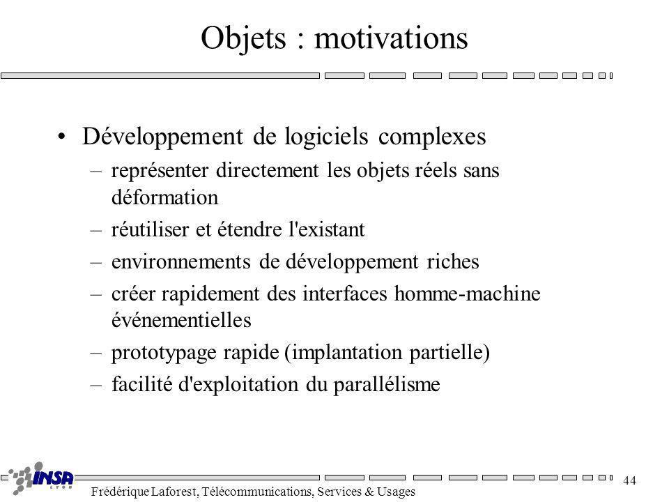 Frédérique Laforest, Télécommunications, Services & Usages 44 Objets : motivations Développement de logiciels complexes –représenter directement les o
