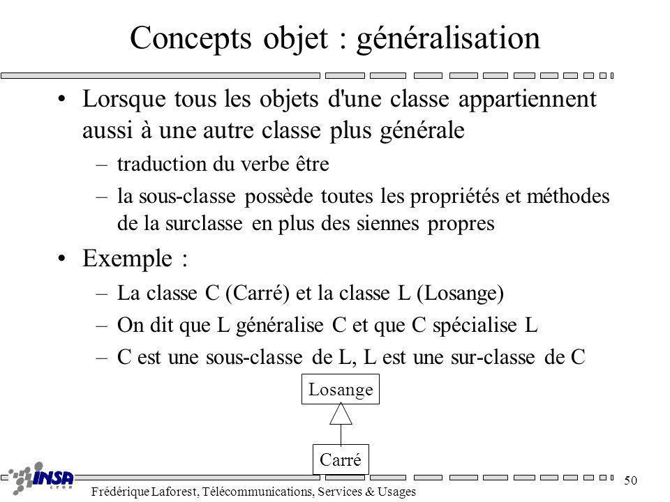 Frédérique Laforest, Télécommunications, Services & Usages 50 Concepts objet : généralisation Lorsque tous les objets d'une classe appartiennent aussi