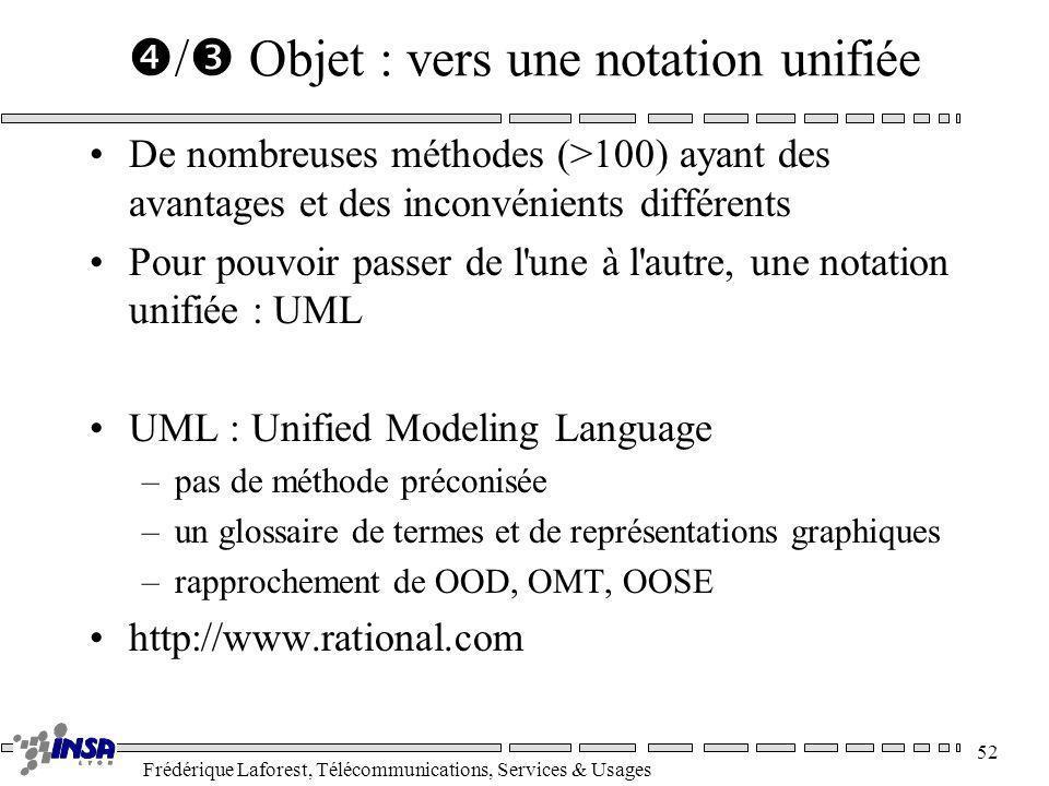 Frédérique Laforest, Télécommunications, Services & Usages 52 / Objet : vers une notation unifiée De nombreuses méthodes (>100) ayant des avantages et