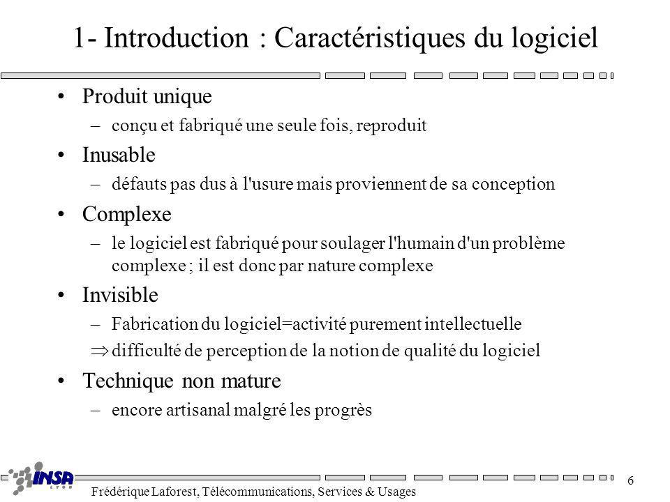 Frédérique Laforest, Télécommunications, Services & Usages 6 1- Introduction : Caractéristiques du logiciel Produit unique –conçu et fabriqué une seul