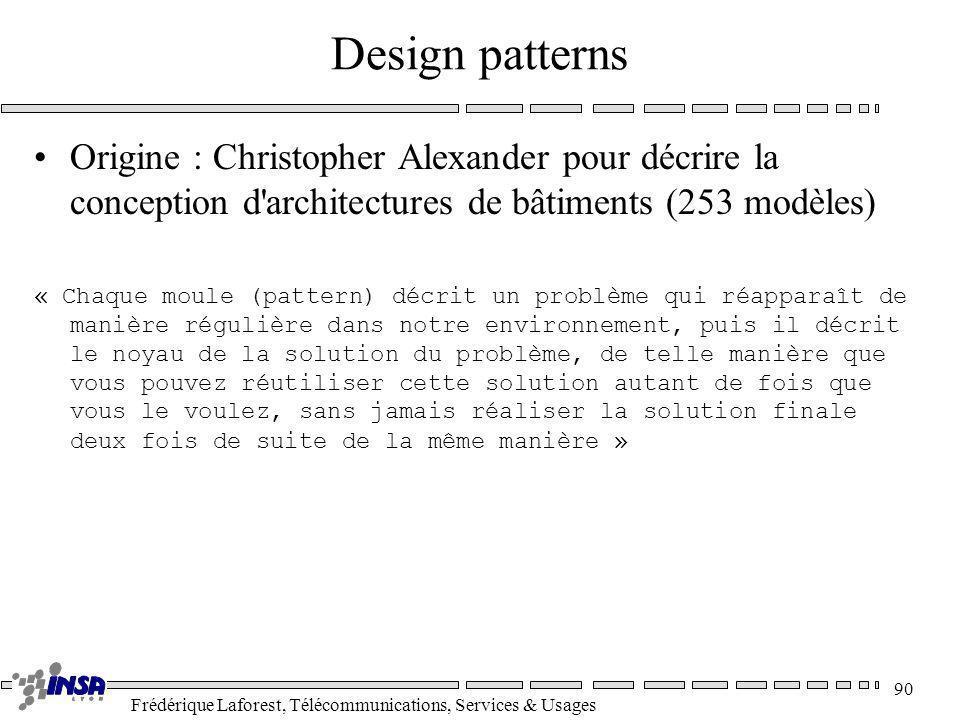 Frédérique Laforest, Télécommunications, Services & Usages 90 Design patterns Origine : Christopher Alexander pour décrire la conception d'architectur