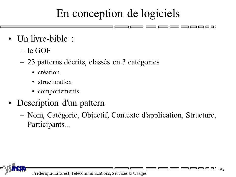 Frédérique Laforest, Télécommunications, Services & Usages 92 En conception de logiciels Un livre-bible : –le GOF –23 patterns décrits, classés en 3 c