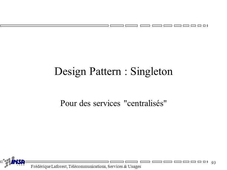 Frédérique Laforest, Télécommunications, Services & Usages 93 Design Pattern : Singleton Pour des services
