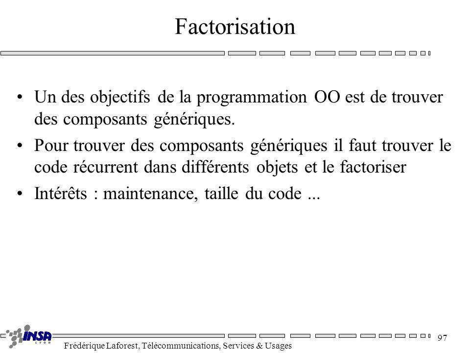 Frédérique Laforest, Télécommunications, Services & Usages 97 Factorisation Un des objectifs de la programmation OO est de trouver des composants géné