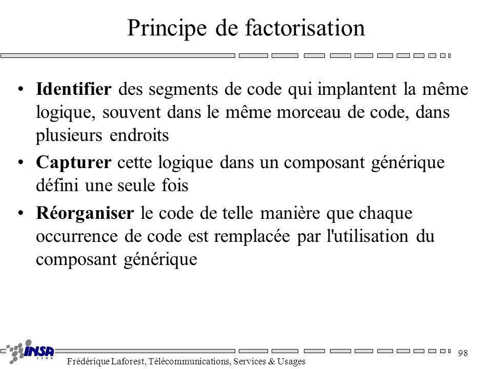 Frédérique Laforest, Télécommunications, Services & Usages 98 Principe de factorisation Identifier des segments de code qui implantent la même logique