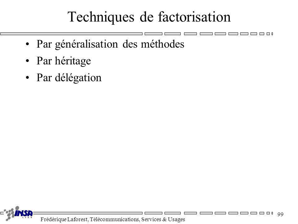 Frédérique Laforest, Télécommunications, Services & Usages 99 Techniques de factorisation Par généralisation des méthodes Par héritage Par délégation
