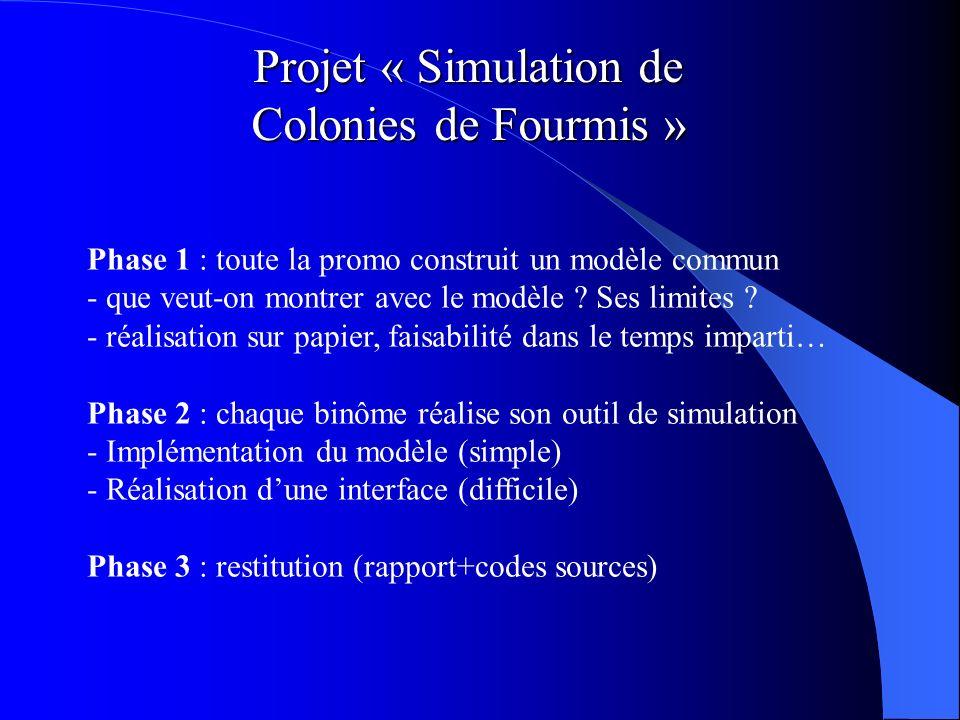 Projet « Simulation de Colonies de Fourmis » Phase 1 : toute la promo construit un modèle commun - que veut-on montrer avec le modèle ? Ses limites ?