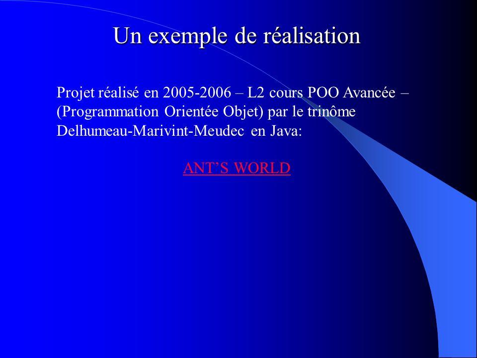 Un exemple de réalisation Projet réalisé en 2005-2006 – L2 cours POO Avancée – (Programmation Orientée Objet) par le trinôme Delhumeau-Marivint-Meudec