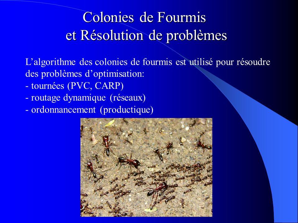 Colonies de Fourmis et Résolution de problèmes Lalgorithme des colonies de fourmis est utilisé pour résoudre des problèmes doptimisation: - tournées (