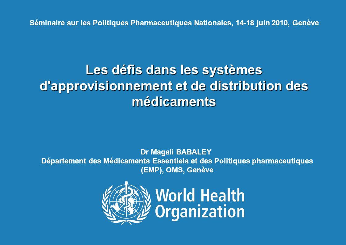 TBS francophone, 14-18 juin 2010, Genève 2   Cartographie/Evaluation approfondie des systèmes d approvisionnements et de distribution des produits pharmaceutiques (1) Objectifs : Appuyer le Ministère de la Santé pour : 1.Identifier tous les partenaires impliqués dans l approvisionnement et la distribution des produits pharmaceutiques.