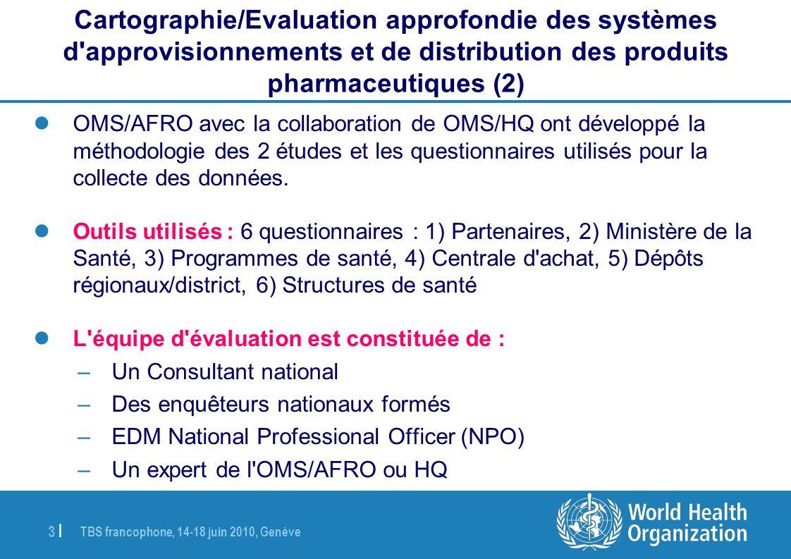 TBS francophone, 14-18 juin 2010, Genève 3   OMS/AFRO avec la collaboration de OMS/HQ ont développé la méthodologie des 2 études et les questionnaires utilisés pour la collecte des données.