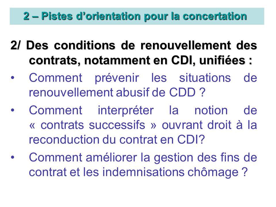 2 – Pistes dorientation pour la concertation 2/ Des conditions de renouvellement des contrats, notamment en CDI, unifiées : Comment prévenir les situations de renouvellement abusif de CDD .