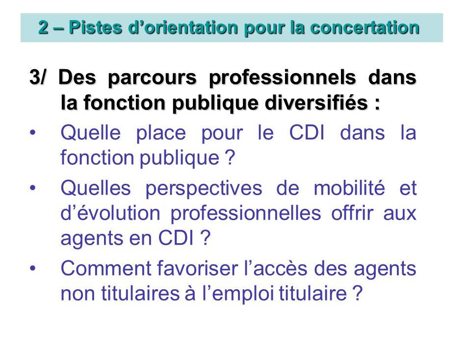 2 – Pistes dorientation pour la concertation 3/ Des parcours professionnels dans la fonction publique diversifiés : Quelle place pour le CDI dans la fonction publique .