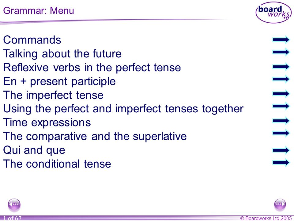© Boardworks Ltd 2005 1 of 67 Commands Talking about the future Reflexive verbs in the perfect tense En + present participle The imperfect tense Using the perfect and imperfect tenses together Time expressions The comparative and the superlative Qui and que The conditional tense Grammar: Menu