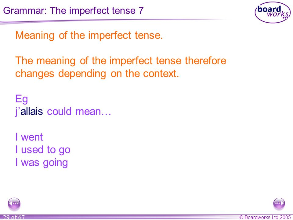 © Boardworks Ltd 2005 29 of 67 Meaning of the imperfect tense.