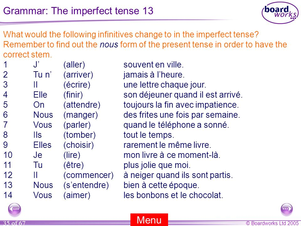 © Boardworks Ltd 2005 35 of 67 What would the following infinitives change to in the imperfect tense? Remember to find out the nous form of the presen