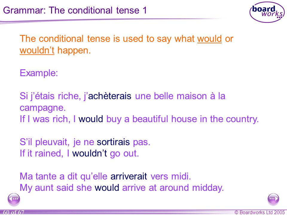 © Boardworks Ltd 2005 60 of 67 The conditional tense is used to say what would or wouldnt happen. Example: Si jétais riche, jachèterais une belle mais