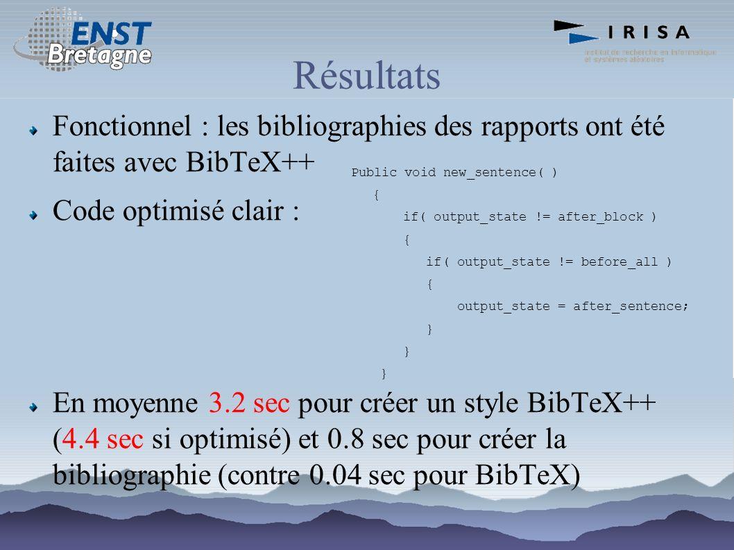 Résultats Fonctionnel : les bibliographies des rapports ont été faites avec BibTeX++ Code optimisé clair : En moyenne 3.2 sec pour créer un style BibT