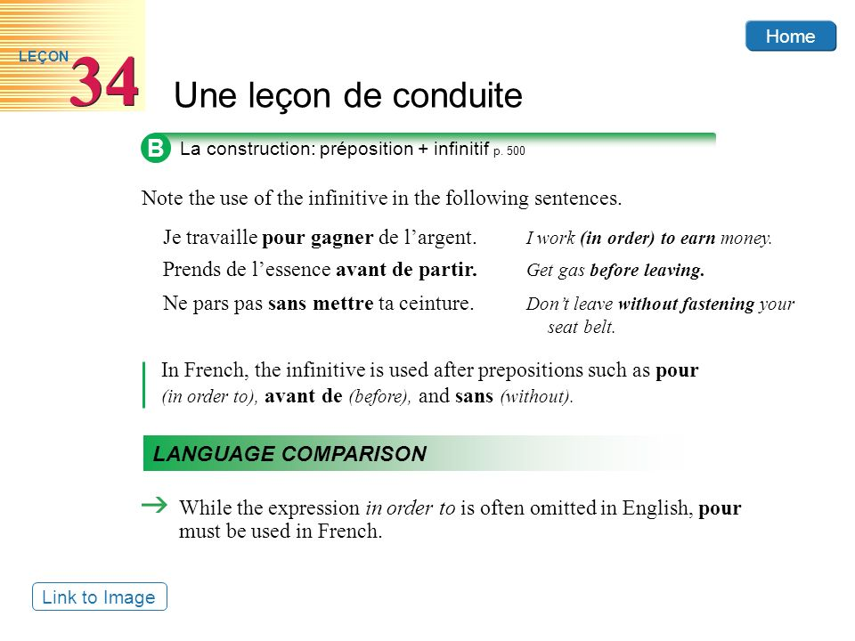 Home Une leçon de conduite 34 LEÇON B Note the use of the infinitive in the following sentences.