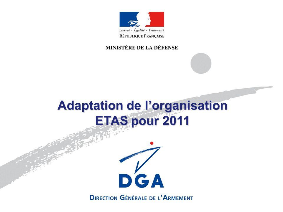 Nom de lentité émettrice 30/06/2005Diapositive N°1 / 000 MINISTÈRE DE LA DÉFENSE Adaptation de lorganisation ETAS pour 2011