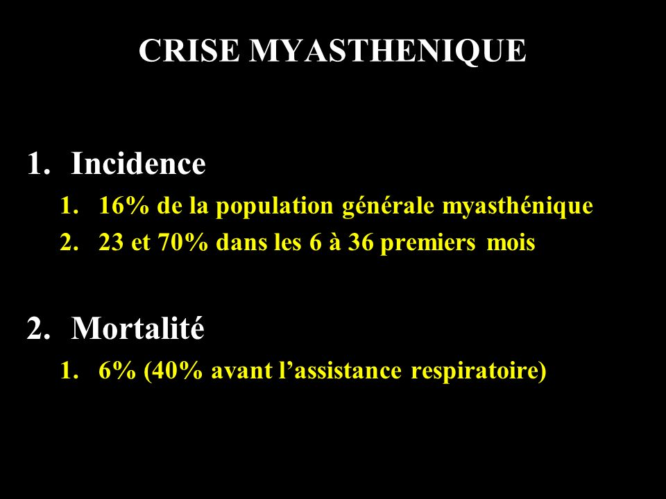 POUSSEE ou CRISE FIRST STEP 1.Diagnostic criteria for MG 2.Thymoma 1.If yes, thoracic CT scan 3.Other auto-immune disease 4.Course of MG 5.Recapitulation of MG specific treatment