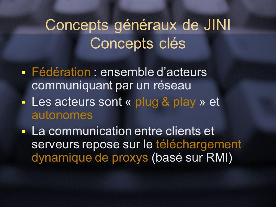 Concepts généraux de JINI Concepts clés Fédération : ensemble dacteurs communiquant par un réseau Les acteurs sont « plug & play » et autonomes La communication entre clients et serveurs repose sur le téléchargement dynamique de proxys (basé sur RMI)