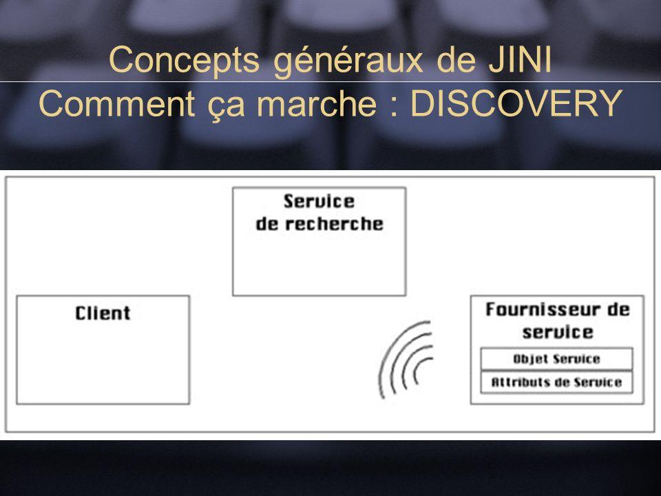 Concepts généraux de JINI Comment ça marche : DISCOVERY