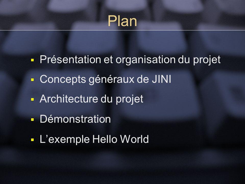 Plan Présentation et organisation du projet Concepts généraux de JINI Architecture du projet Démonstration Lexemple Hello World