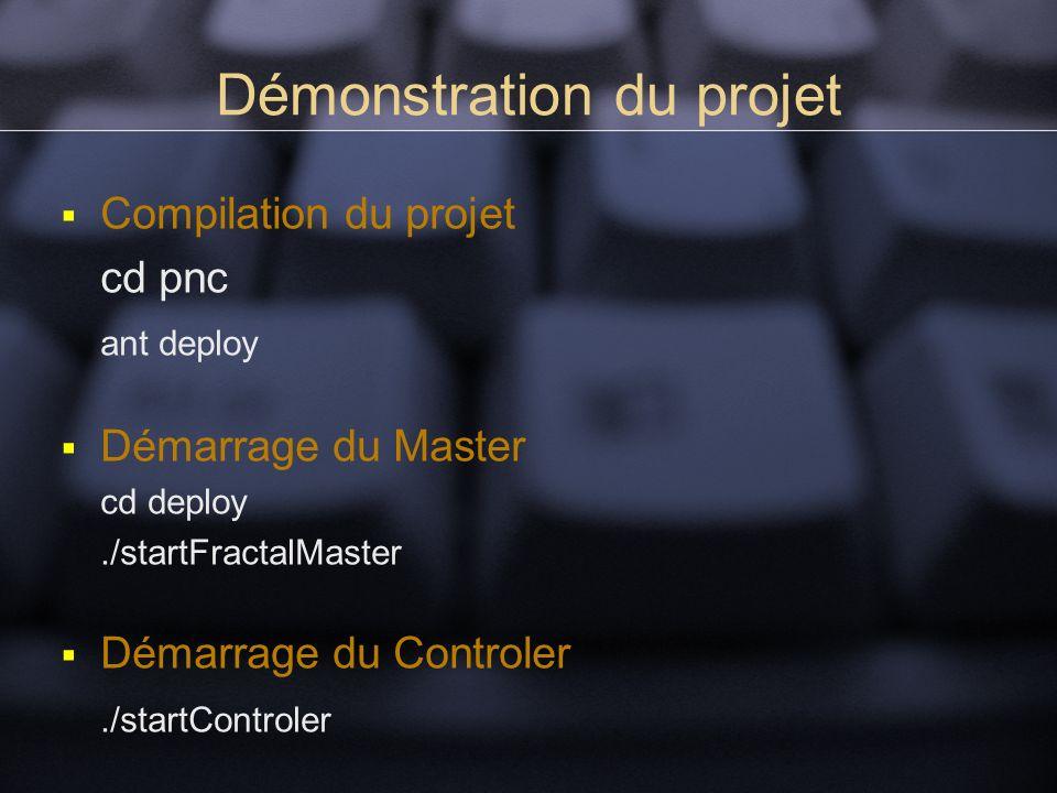 Démonstration du projet Compilation du projet cd pnc ant deploy Démarrage du Master cd deploy./startFractalMaster Démarrage du Controler./startControler