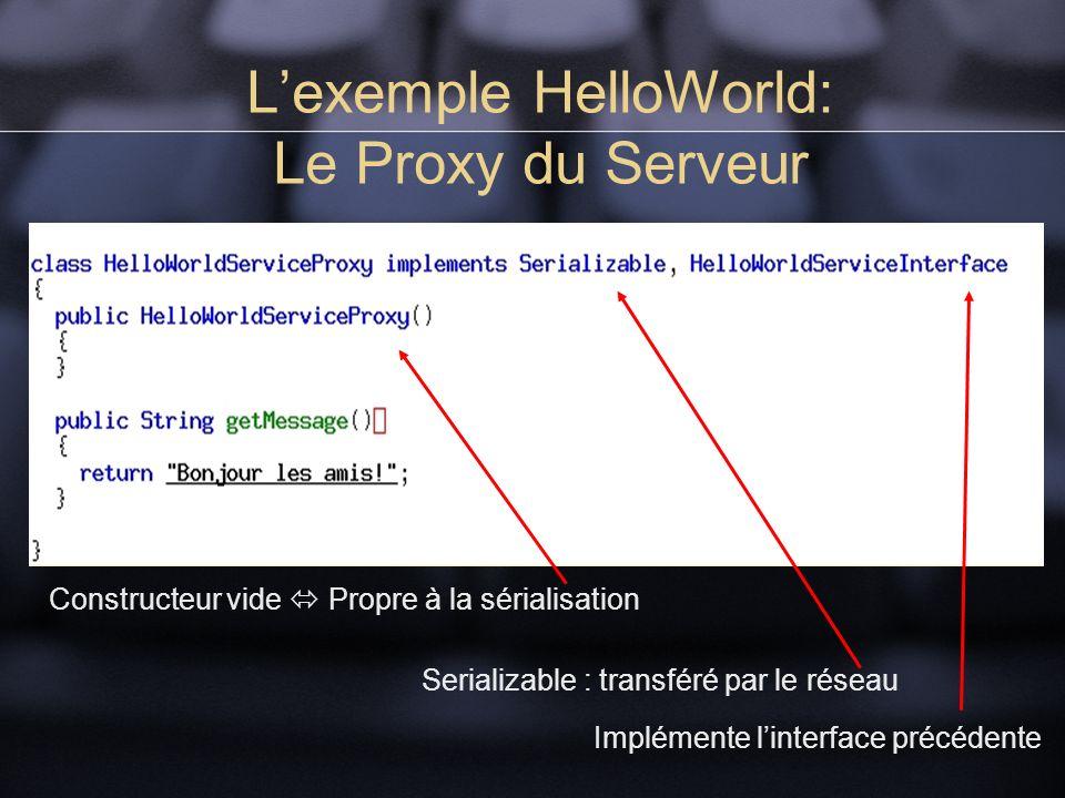 Lexemple HelloWorld: Le Proxy du Serveur Serializable : transféré par le réseau Constructeur vide Propre à la sérialisation Implémente linterface précédente