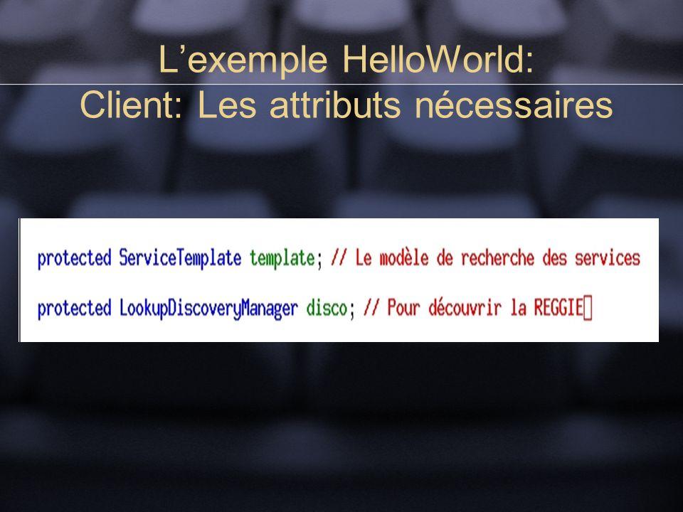 Lexemple HelloWorld: Client: Les attributs nécessaires