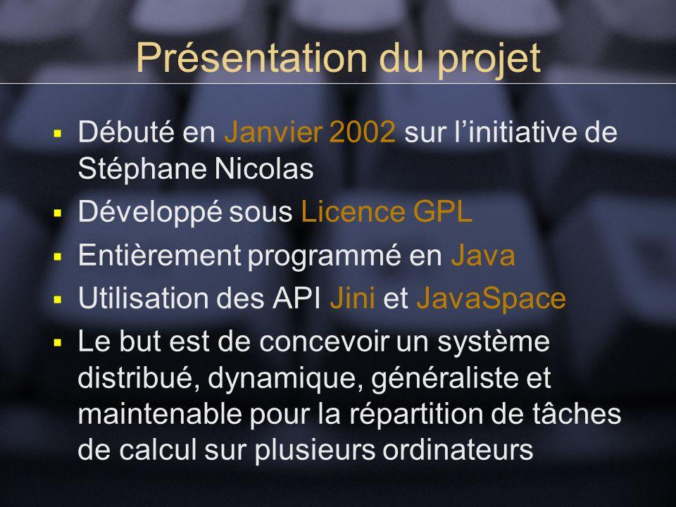 Présentation du projet Débuté en Janvier 2002 sur linitiative de Stéphane Nicolas Développé sous Licence GPL Entièrement programmé en Java Utilisation des API Jini et JavaSpace Le but est de concevoir un système distribué, dynamique, généraliste et maintenable pour la répartition de tâches de calcul sur plusieurs ordinateurs
