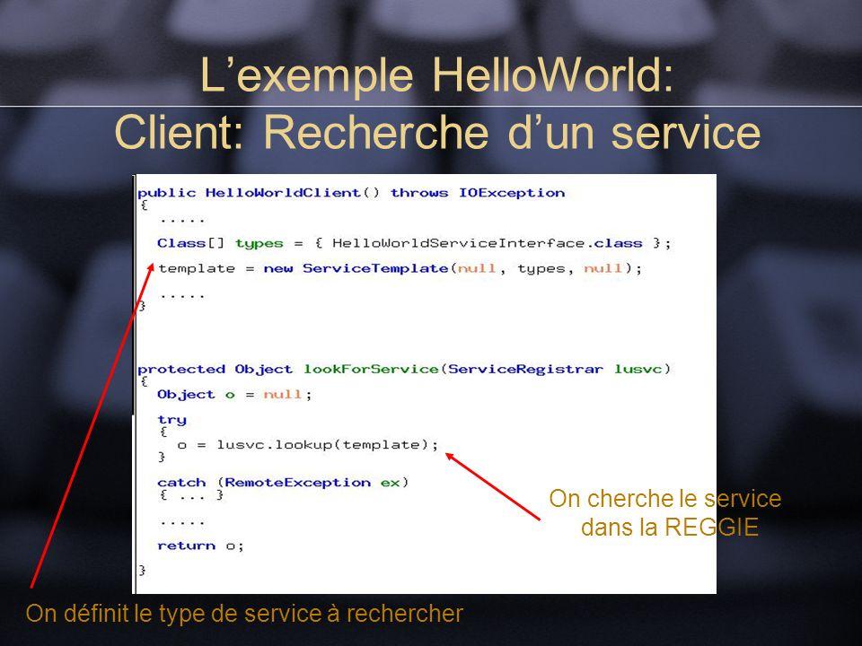 Lexemple HelloWorld: Client: Recherche dun service On définit le type de service à rechercher On cherche le service dans la REGGIE