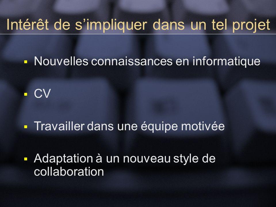 Intérêt de simpliquer dans un tel projet Nouvelles connaissances en informatique CV Travailler dans une équipe motivée Adaptation à un nouveau style de collaboration