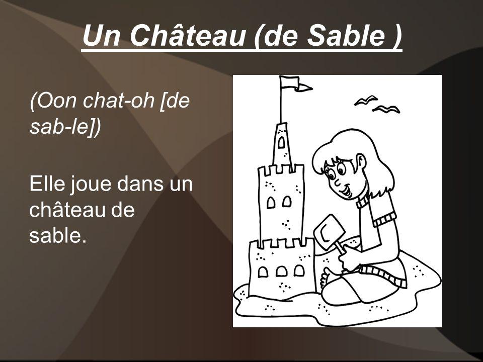 Un Château (de Sable ) Elle joue dans un château de sable. (Oon chat-oh [de sab-le])