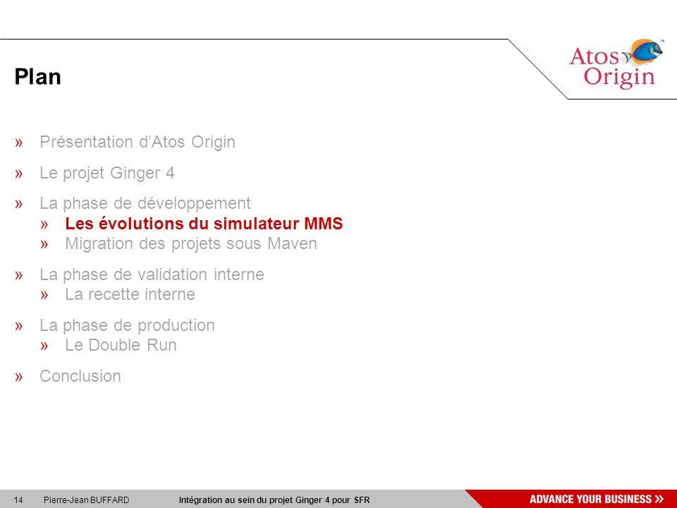 14 Pierre-Jean BUFFARD Intégration au sein du projet Ginger 4 pour SFR Plan »Présentation dAtos Origin »Le projet Ginger 4 »La phase de développement