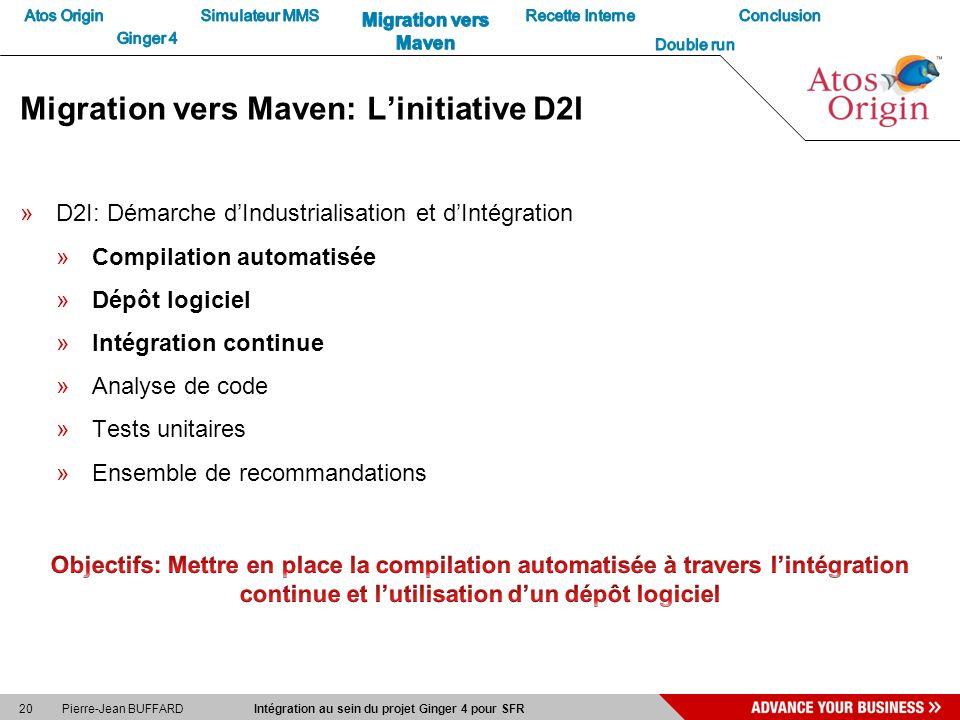 20 Pierre-Jean BUFFARD Intégration au sein du projet Ginger 4 pour SFR Migration vers Maven: Linitiative D2I »D2I: Démarche dIndustrialisation et dInt