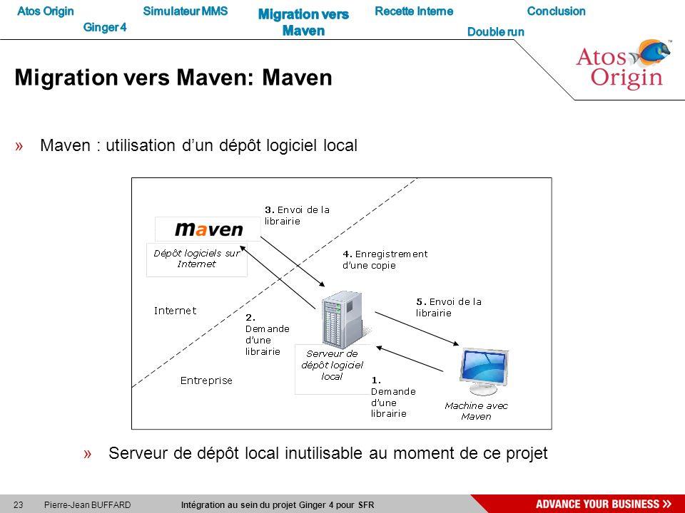 23 Pierre-Jean BUFFARD Intégration au sein du projet Ginger 4 pour SFR Migration vers Maven: Maven »Maven : utilisation dun dépôt logiciel local »Serv