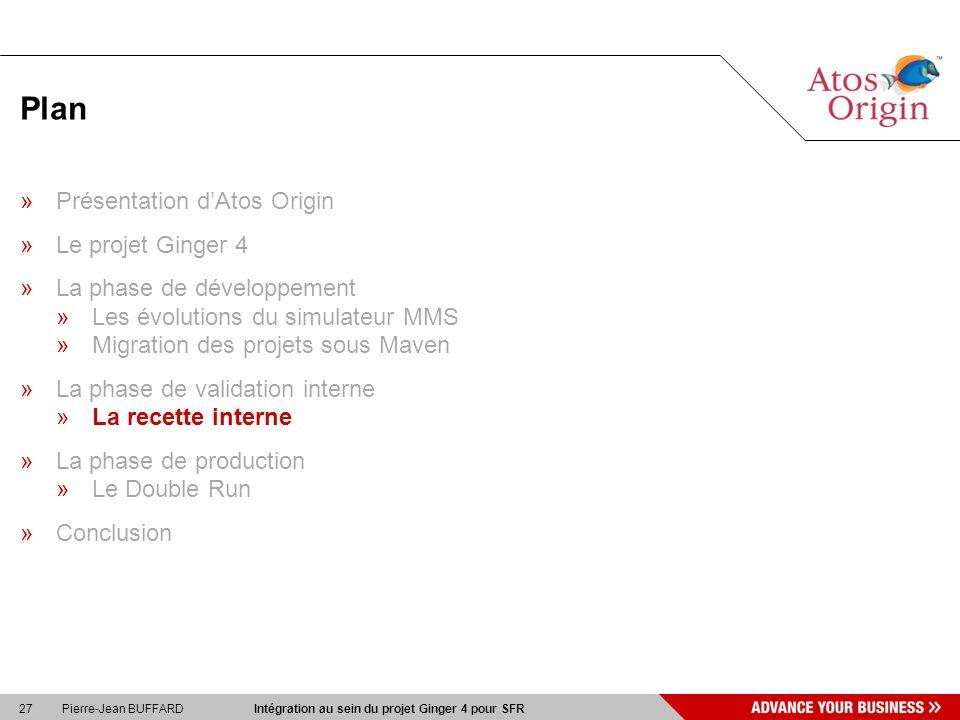 27 Pierre-Jean BUFFARD Intégration au sein du projet Ginger 4 pour SFR Plan »Présentation dAtos Origin »Le projet Ginger 4 »La phase de développement