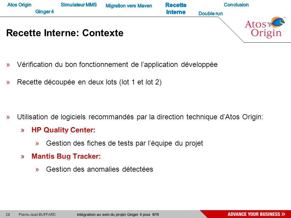 28 Pierre-Jean BUFFARD Intégration au sein du projet Ginger 4 pour SFR Recette Interne: Contexte