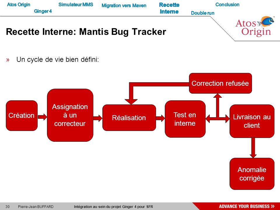 30 Pierre-Jean BUFFARD Intégration au sein du projet Ginger 4 pour SFR Recette Interne: Mantis Bug Tracker »Un cycle de vie bien défini: Création Assi