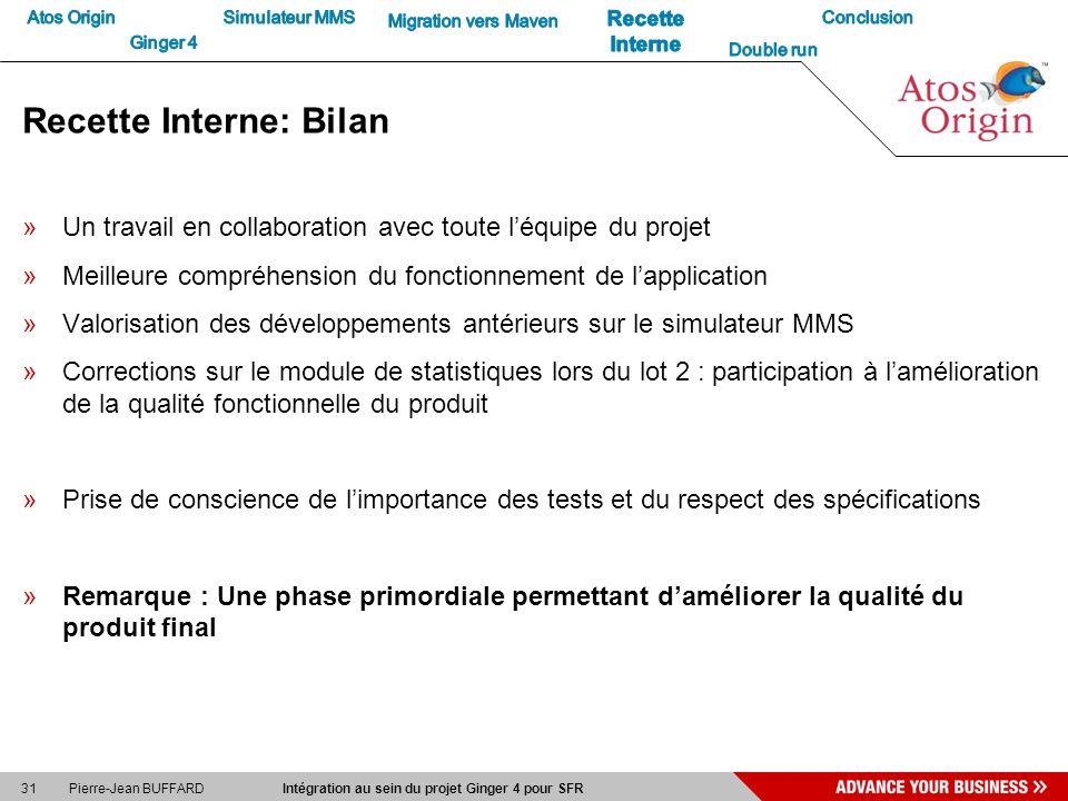 31 Pierre-Jean BUFFARD Intégration au sein du projet Ginger 4 pour SFR Recette Interne: Bilan »Un travail en collaboration avec toute léquipe du proje