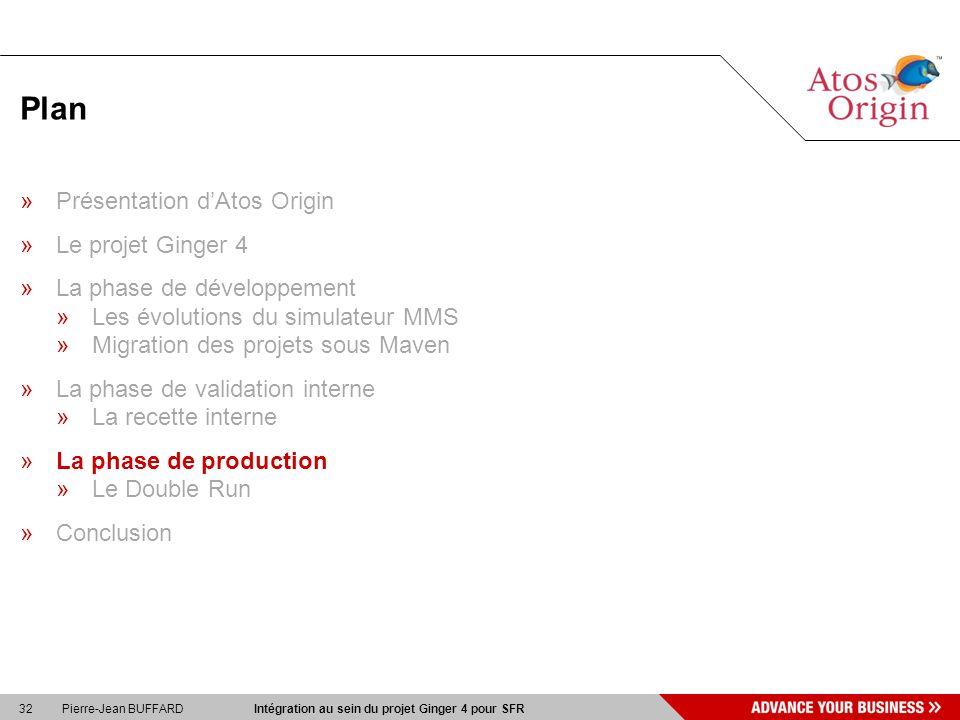 32 Pierre-Jean BUFFARD Intégration au sein du projet Ginger 4 pour SFR Plan »Présentation dAtos Origin »Le projet Ginger 4 »La phase de développement