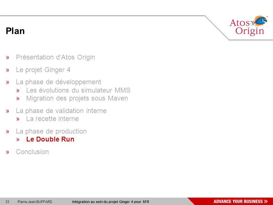 33 Pierre-Jean BUFFARD Intégration au sein du projet Ginger 4 pour SFR Plan »Présentation dAtos Origin »Le projet Ginger 4 »La phase de développement