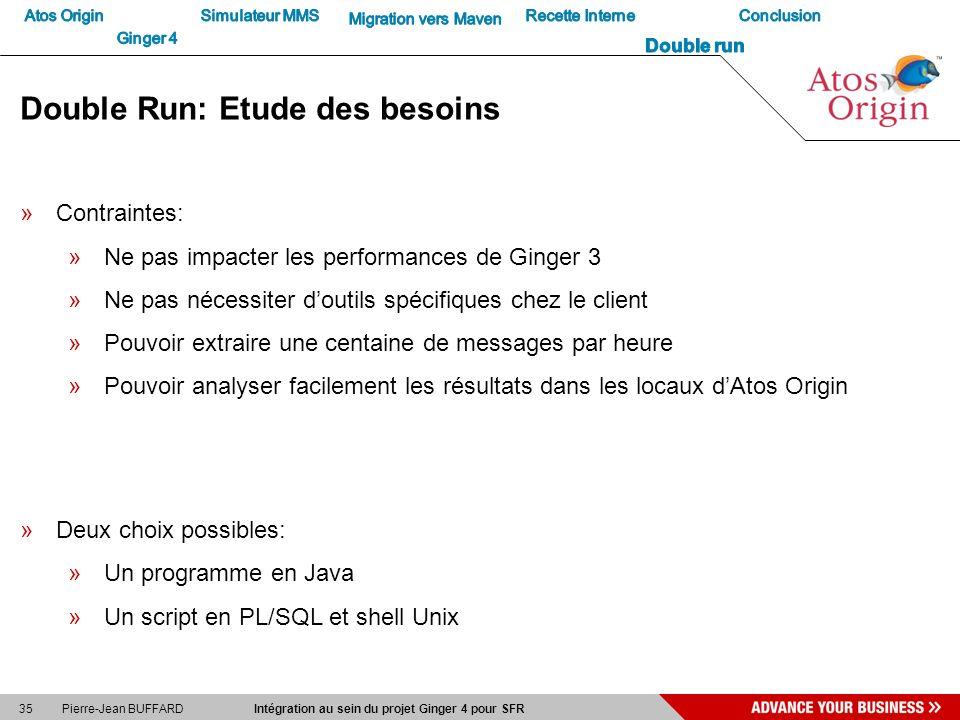 35 Pierre-Jean BUFFARD Intégration au sein du projet Ginger 4 pour SFR Double Run: Etude des besoins »Contraintes: »Ne pas impacter les performances d